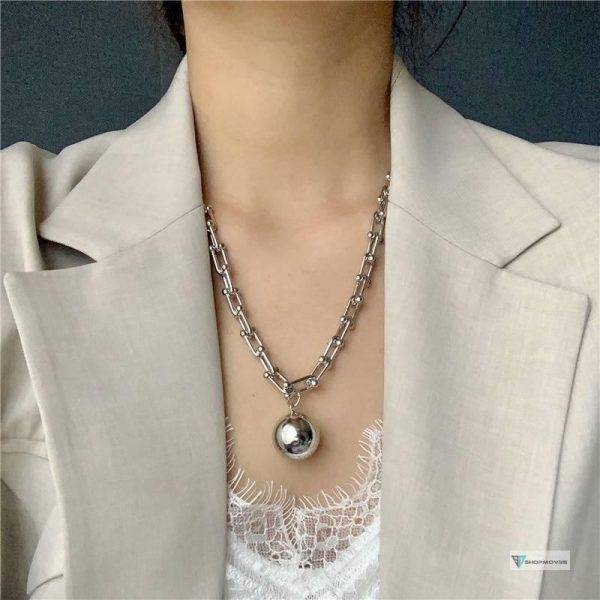 Brand Punk Necklace Vintage Big U Chains Chokers Necklaces for Women Gothic Jewelry Metal Ball Pendant Necklace Goth bijoux 2020 Beaded Necklaces Chokers Crystal Necklaces Jewelry Necklaces 8d255f28538fbae46aeae7: gold BR|gold necklace|SILVER BR|silver necklace