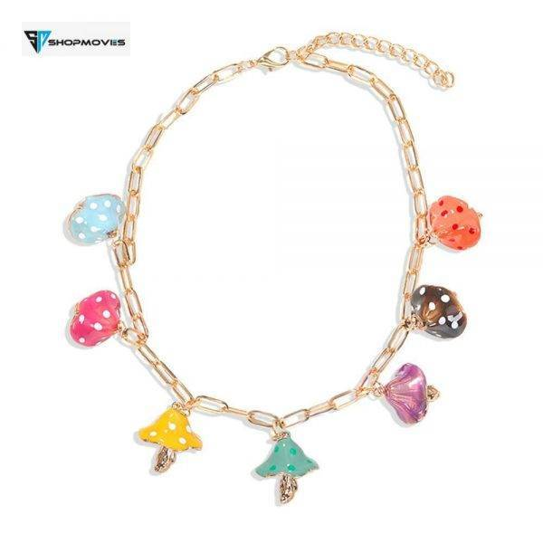 2020 New Fashion ZA Mushroom Necklace For Women Cute Acrylic Collier Aesthetic Colorful Necklaces Summer Ocean Jewelry Gifts Beaded Necklaces Chokers Crystal Necklaces Jewelry Necklaces 8d255f28538fbae46aeae7: A