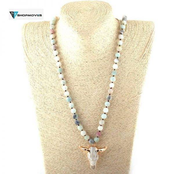 MOODPC Fashion Bohemian Jewelry Stone Knotted 3 Color Horn Pendant Necklace For Women Ethnic Necklace Beaded Necklaces Chokers Crystal Necklaces Jewelry Necklaces a4a426b9b388f11a2667f5: Amazonite|Black|Brown|White