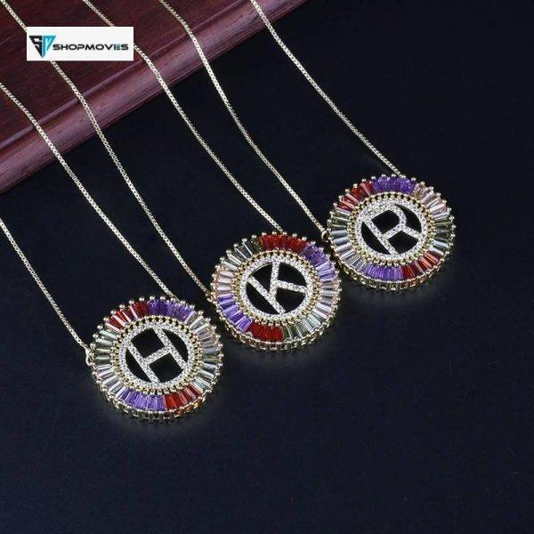 1 Pcs New Fashionable Gold Micro Pave Rainbow CZ Cubic Zirconia A-Z Name Initials Letter Pendant Necklaces For Women Jewelry Beaded Necklaces Chokers Crystal Necklaces Jewelry Necklaces 8d255f28538fbae46aeae7: A|B|C|D|E|F|G|H|I|J|K|L|M|N|O|P|Q|R|S|T|U|V|W|X|Y|Z