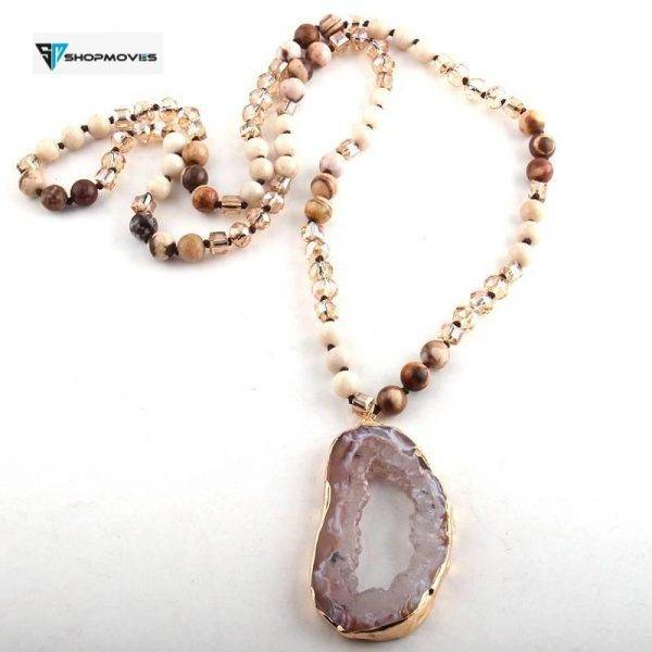 Fashion Bohemian Tribal Jewelry Crystal / Stone Long Knotted Irregular Druzy Stone Pendant Necklaces For Women Beaded Necklaces Chokers Crystal Necklaces Jewelry Necklaces 8d255f28538fbae46aeae7: 1|2|3