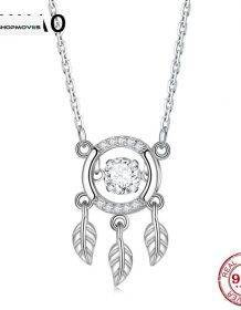 Hot sale 925 Sterling Silver Dreamcatcher shape Chain Pendant Necklace for Women Sterling Silver Jewelry Beaded Necklaces Charm Necklaces Chokers Jewelry Necklaces Brand Name: JIUHAO