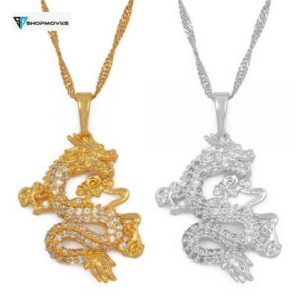 Anniyo CZ Dragon Pendant Necklaces for Women Men Gold Color Jewellery Cubic Zirconia Mascot Ornaments Lucky Symbol Gifts #064004 Beaded Necklaces Charm Necklaces Chokers Jewelry Necklaces 8d255f28538fbae46aeae7: gold color|Gold Figaro|Silver Color|Silver Figaro