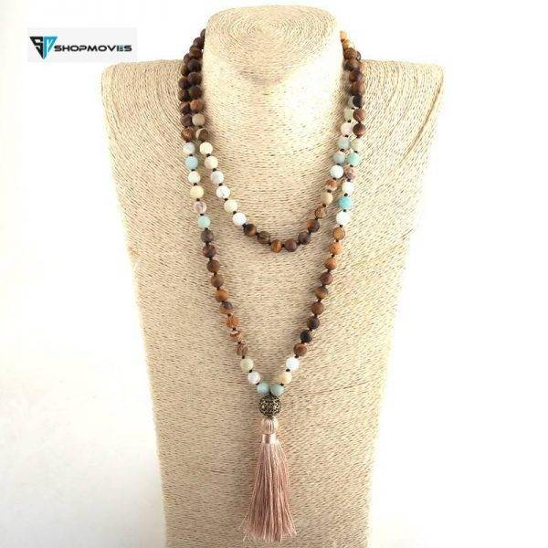 Fashion Bohemian Tribal Jewelry 108 Beads Necklace 8MM Natural Stone Tassel Yoga Necklace For Women Lariat Necklaces Beaded Necklaces Charm Necklaces Chokers Jewelry Necklaces 8d255f28538fbae46aeae7: Antique Bronze Plated|Antique Silver Plated