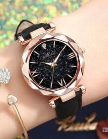 Women Casual Leather Ladies Watch Quartz Wrist Watch Starry Sky Female Clock reloj mujer relogio feminino Electronics Fashion Watch color: Black color|Brown Color|Pink Color|Red Color