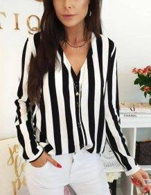 2019 New Blouse Women Casual Striped Top Shirts Blouses Female Loose Blusas Autumn Fall Casual Ladies Office Blouses Top Sexy Blouses Clothing Fashion Women's wears color: Black|red