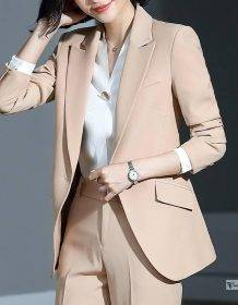 Women's suits autumn and winter new single buckle fashion professional decoration body slim trousers women's two-piece suit Clothing Fashion Pant Suits Women's wears color: Pants suit|shirt|Skirt suit
