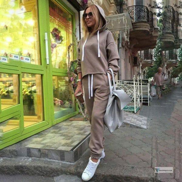 Fashion 2pcs Women Travel Leisure Jogging Suit Solid Color Tracksuits Fleece Lined Hoodies Pants Set Clothing Fashion Pant Suits Women's wears color: Black|black1|Dark Khaki|grey1|Light Grey|pink1|wine red