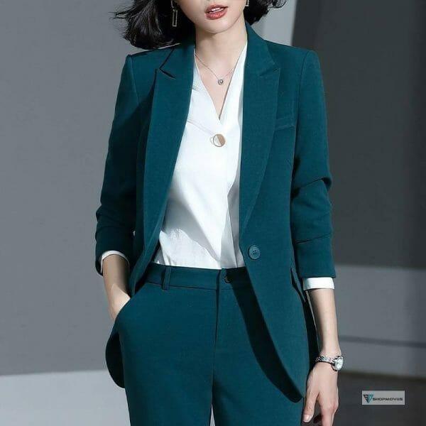 Women's suit 2019 new autumn large size long solid color fashion suit trousers set two-piece temperament women's clothing Clothing Fashion Pant Suits Women's wears color: Pants suit|shirt|Skirt suit
