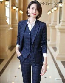 Formal Uniform Designs Pantsuits for Women Business Work Wear Ladies Office Autumn Winter Professional OL Blazers Fashion Plaid Clothing Fashion Pant Suits Women's wears color: 1 10 11 12 13 14 2 3 4 5 6 7 8 9