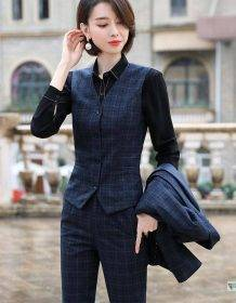 Gray Plaid Blazer Vest and Pant 3 Piece Women Pant Suit Uniform Designs S-5XL For Office Lady Business Career Work Wear Clothing Fashion Pant Suits Women's wears color: Plaid 3 Pieces Suit