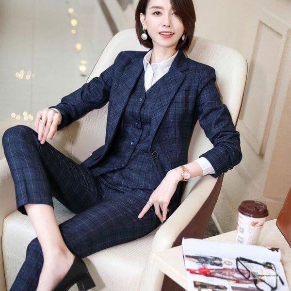 Gray Plaid Blazer Vest and Pant 3 Piece Women Pant Suit Uniform Designs S-5XL For Office Lady Business Career Work Wear Clothing Fashion Pant Suits Women's wears color: Plaid 3 Pieces Suit