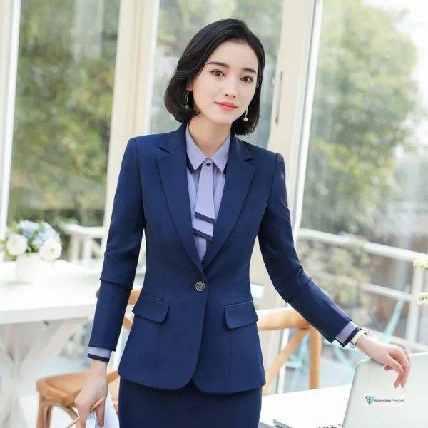 Women 2 Piece Set Formal Pants Suits Blazer Jacket Office Lady Work Business Uniform Trousers 2019 Autumn Clothing Large 4XL XXL Clothing Fashion Pant Suits Women's wears color: grey shirt|jacket and pants|jacket and skirt|Only jacket|Only Pants