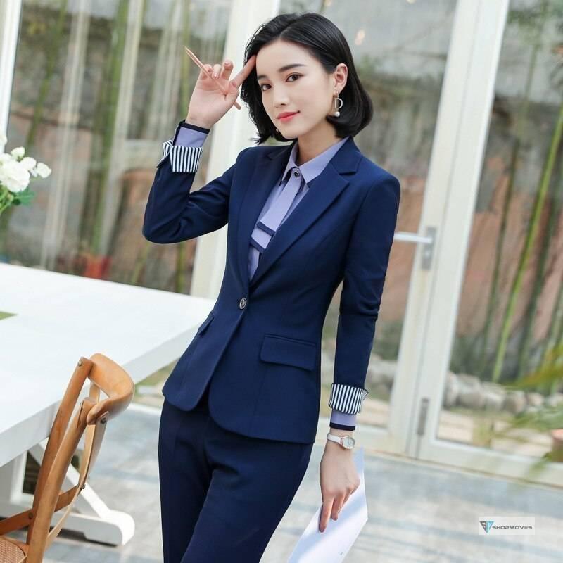 Women 2 Piece Set Formal Pants Suits Blazer Jacket Office Lady Work Business Uniform Trousers 2019 Autumn Clothing Large 4XL XXL Clothing Fashion Pant Suits Women's wears color: jacket and pants size: XXXL