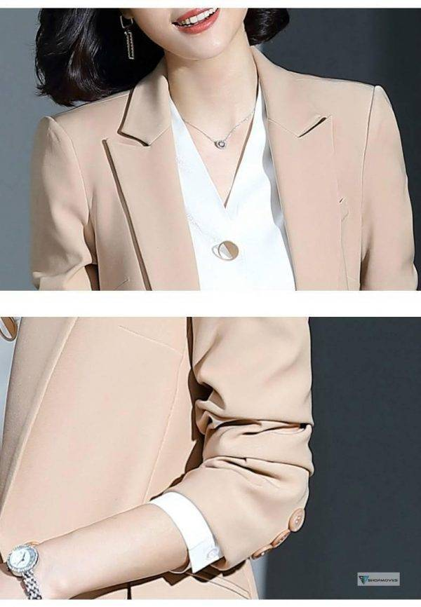 Women's suit 2019 new autumn large size long solid color fashion suit trousers set two-piece temperament women's clothing Clothing Fashion Pant Suits Women's wears color: Pants suit|Pants suit|Pants suit|shirt|Skirt suit|Skirt suit|Skirt suit
