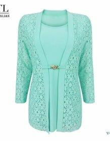 YTL Women's Plus Size False Two-piece 3/4 Sleeve Mint Blouse Office Work Business Lace Waist Brooch Tunic Top Shirt H384 Blouses Clothing Fashion Women's wears color: Mint